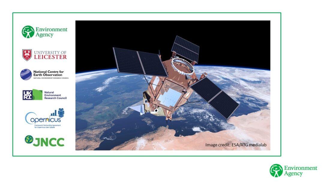 Satellite image and logos